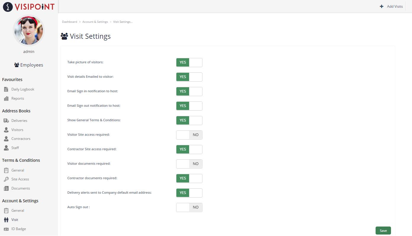 VisiPoint Admin Settings