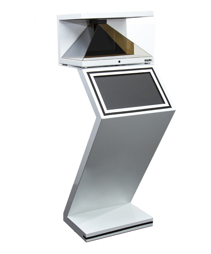 Hologram Kiosk Display with Touch Screen Interactivity