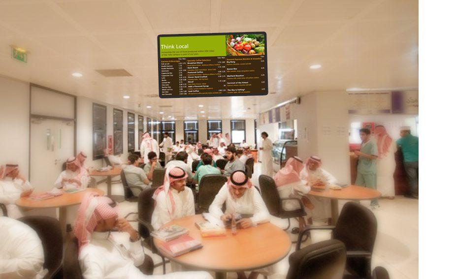 Digital signage menu board in a restaurant