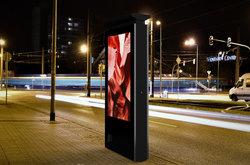 Digital signage kiosk in a city