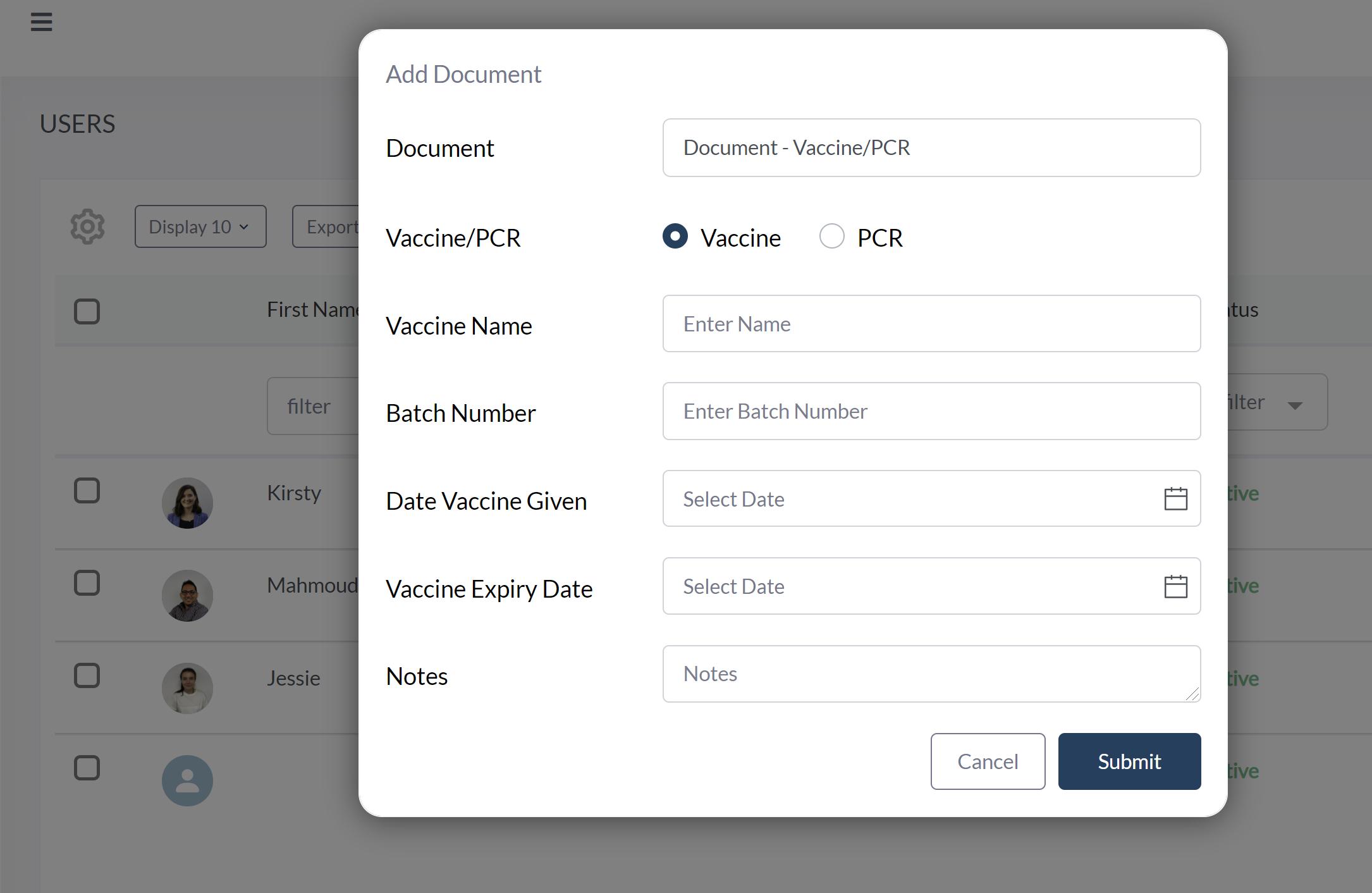 Add Vaccination Record Manually to User Profile