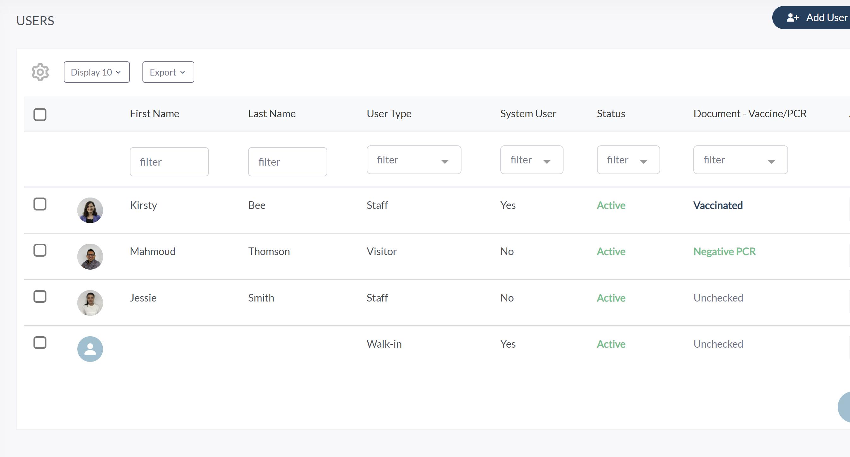 User Profile Vaccination Status - VisiPoint Cloud